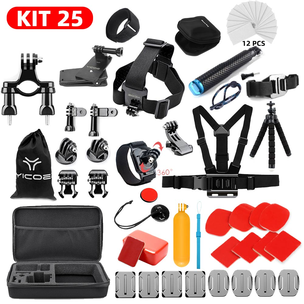 Selfie Stick For GoPro Hero 7 6 5 4 3+ Action Sport Camera Go Pro Accessories Kit For SJCAM Xiaomi Yi 4k Mijia Storage Bag Case