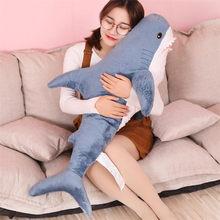 Peluche de tiburón grande de 60/80/100CM, almohada de lectura de animales speelgoed, suave, cojín para regalo de cumpleaños para niños