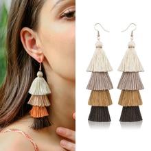 HOCOLE Bohemian Long Tassel Earrings For Women Za 2019 Fashion Statement Fringed Multi Layer Drop Dangle Earring Pendant Jewelry