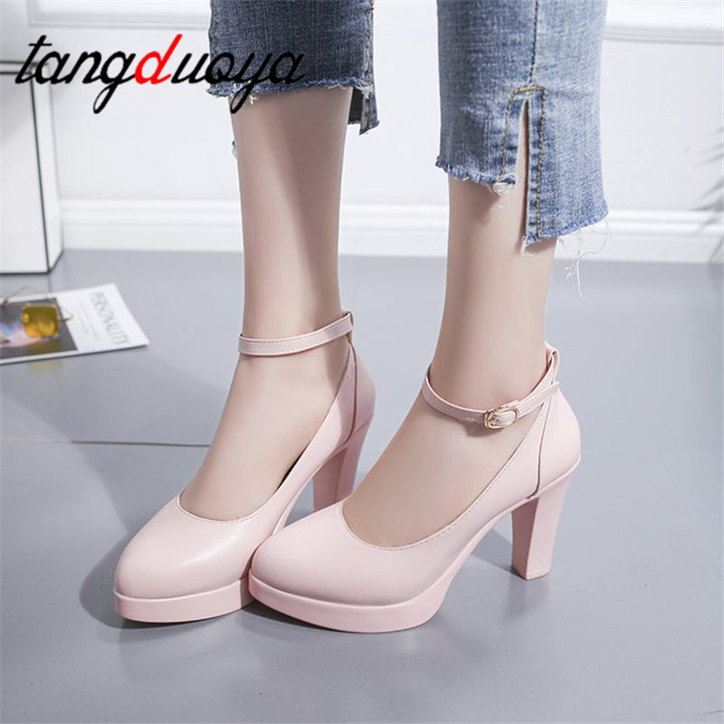 high-heeled fashion wild women's shoes shallow mouth round head thick with leather shoes beige black pink work shoes Pumps 7.5cm