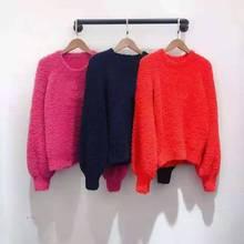 Женский модельный пуловер, красный, розовый, темно синий джемпер на осень и зиму, 2019