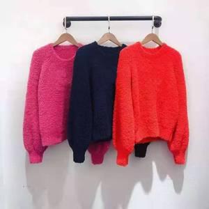 Image 1 - 2019 autumn winter runway women pullover red pink dark blue lady fashion jumper winter female sweater