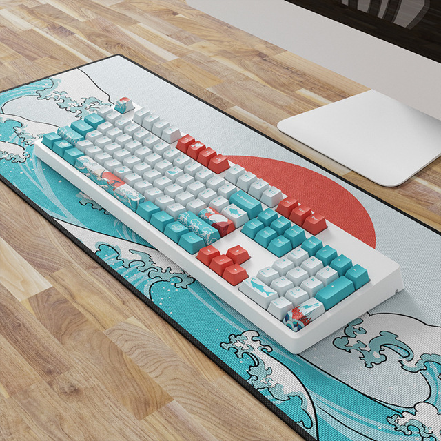 OEM PBT Keycaps 세트 Keycap 염료 승화 Ukiyo e 일본 만화 마우스 패드 GK61 체리 MX 스위치 기계식 키보드