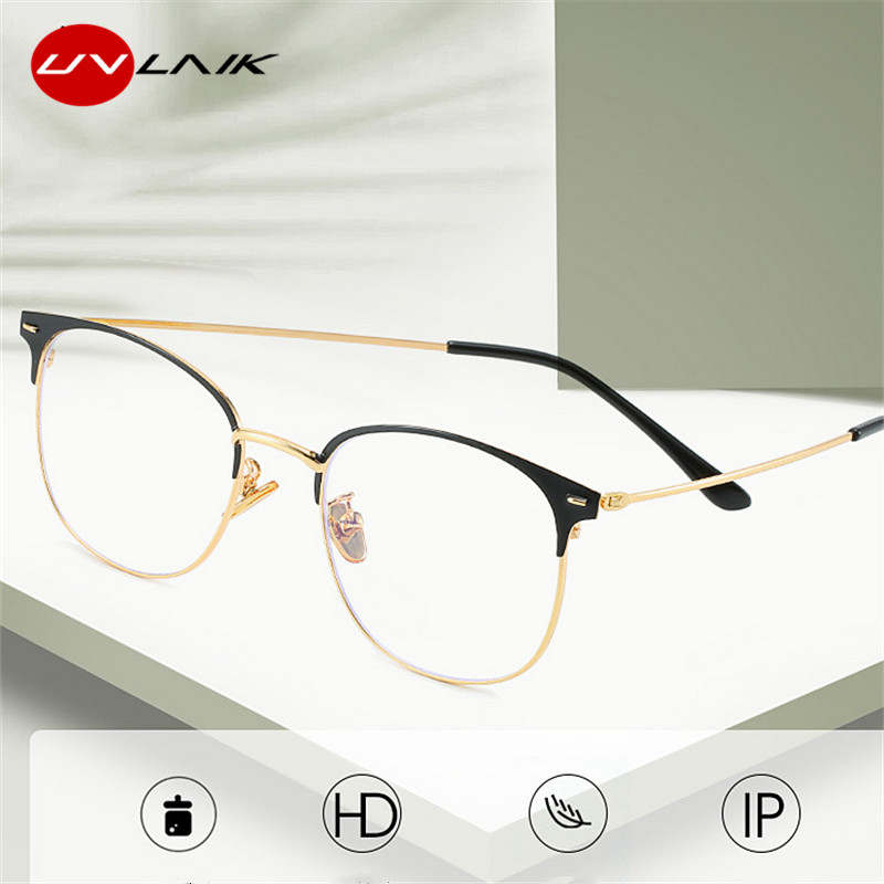 UVLAIK Anti-blue Light Glasses Frames Women Men Ultralight Alloy Metal Frame Transparent Brand Design Working Glasses