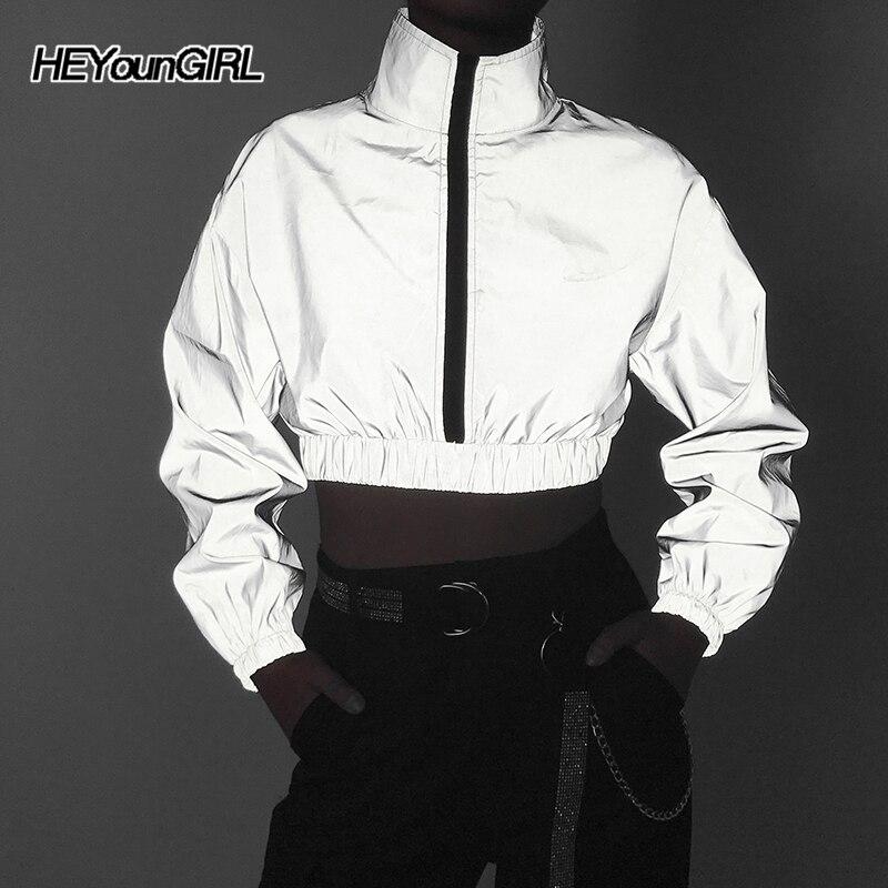 Heyoungirl Светоотражающая короткая куртка Harajuku повседневные пальто в стиле хип-хоп женские свободные ветровки с длинными рукавами Корейская О...