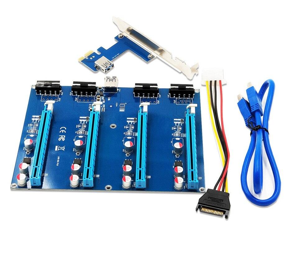 PCI express PCIe 1 para 4 16X 4 slots PCI-E Riser Card USB3.0 1X para Externo slot PCI-e Porta do Adaptador cartão multiplicador para BTC Mineiro