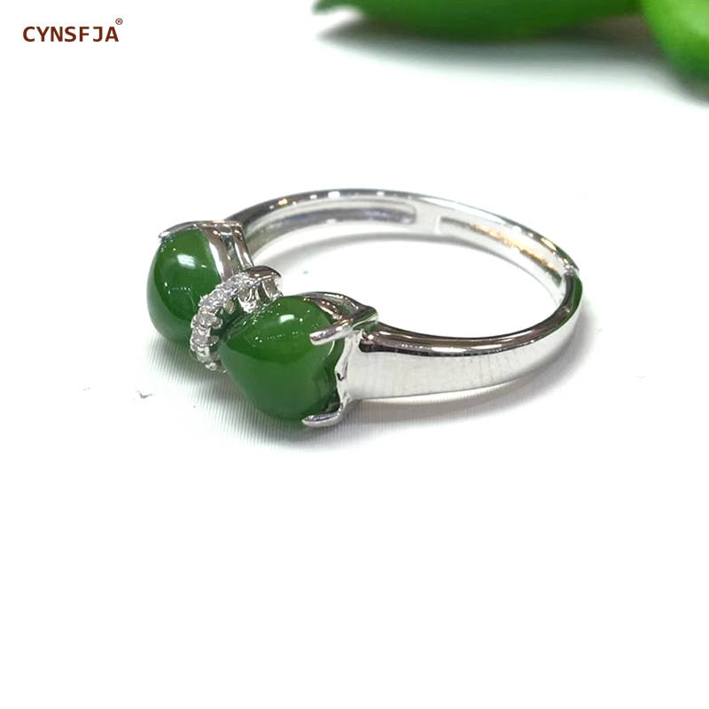 Certificado Natural Hetian Jasper CYNSFJA Real 925 Sterling Silver Jóia Fina Handmade Verde Jade Anéis Ajustáveis Melhores Presentes
