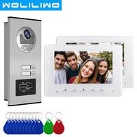7 Inch Wired Video Door Phone Intercom 2/3/4 Apartment Intercom System RFID IR HD Unlock Doorbell Camera intercom for home