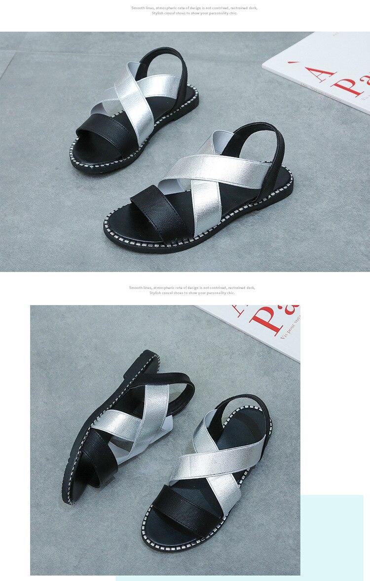 Sapatos femininos clássico elástico senhoras sandálias planas
