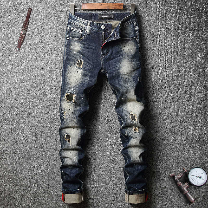 Pantalones Vaqueros De Estilo Italiano Para Hombre Jeans Rasgados Ajustados Estilo Retro Azul Oscuro Elasticos Hip Hop Punk Pantalones Vaqueros Aliexpress