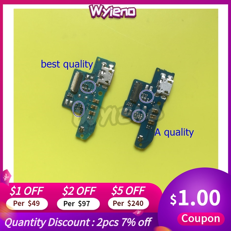 Wyieno For ZTE Blade A602 Charger Port Board USB Charging Connector Flex Cable Microphone Mic Plug Replacement Parts + Tracking