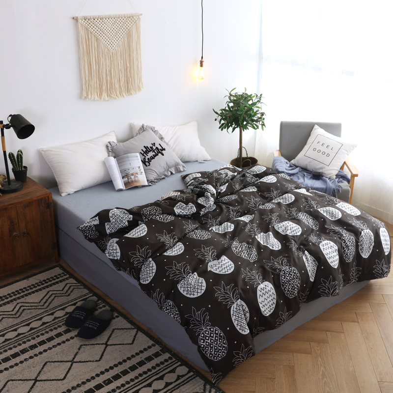 Fashion Black Pineapple Printed Duvet Cover Soft Quilt Cover With Zipper 150*200cm,180*220cm,200*230cm,220*240cm Size Bedspreads