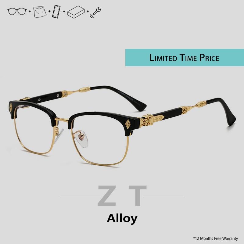 ZT Retro Gold Frame Glasses Transparent Optical Glasses Men Design Spectacles Frames Myopia Eyewear