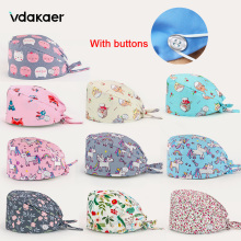womens and men Scrubs Caps Reusable surgical cap lab Scrubs  Beauty Work Cap Breathable With buttons nursing cap