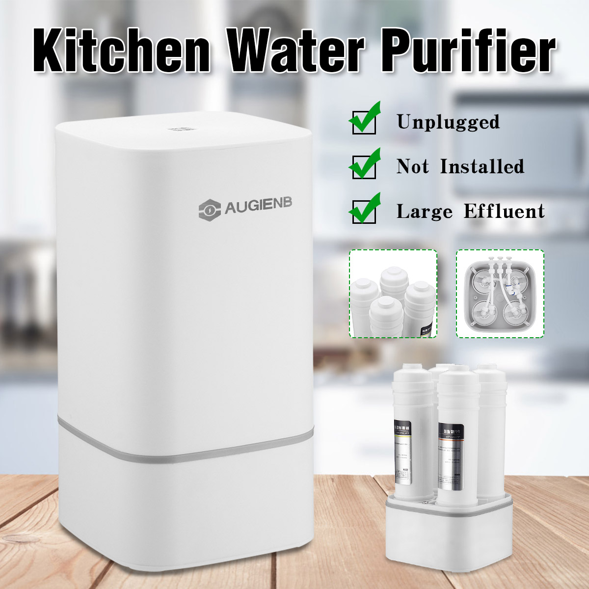 4 Stage Countertop RO Water Purifier Membrane Reverse Osmosis Water Filter System Technology Kitchen Type Household White
