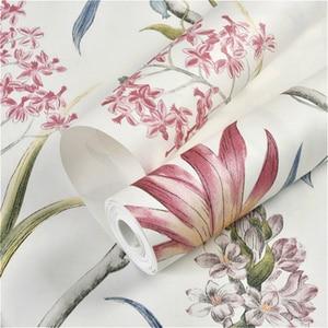 Image 4 - Chinoiserie papier peint moderne Vintage avec fleurs roses, papillons, oiseaux tropicaux