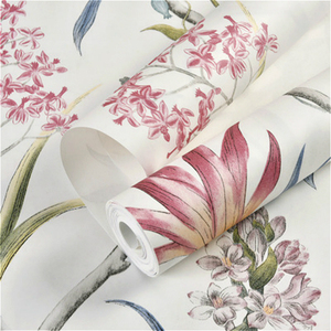 Image 4 - chinoiserie wallpaper Bedroom Wall Covering modern Vintage Pink Floral Wallpaper Blue Tropical Butterfly Birds Flower Wall Paper