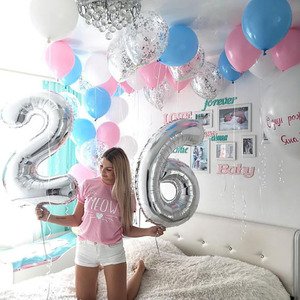 2 шт. Джамбо фольга Серебристые воздушные шарики торт ко дню рождения Smash 32 дюйма воздушный шар 10/20/30/40/50/60/70/80/90 вечерние украшения на годовщин...