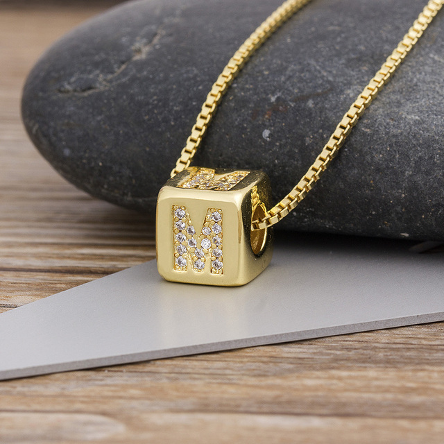 2020 Hot Sale A-Z Initials Micro Pave Copper CZ Cube Letter Pendant Necklaces For Women Men Charm Chain Family Name Jewelry Gift 3