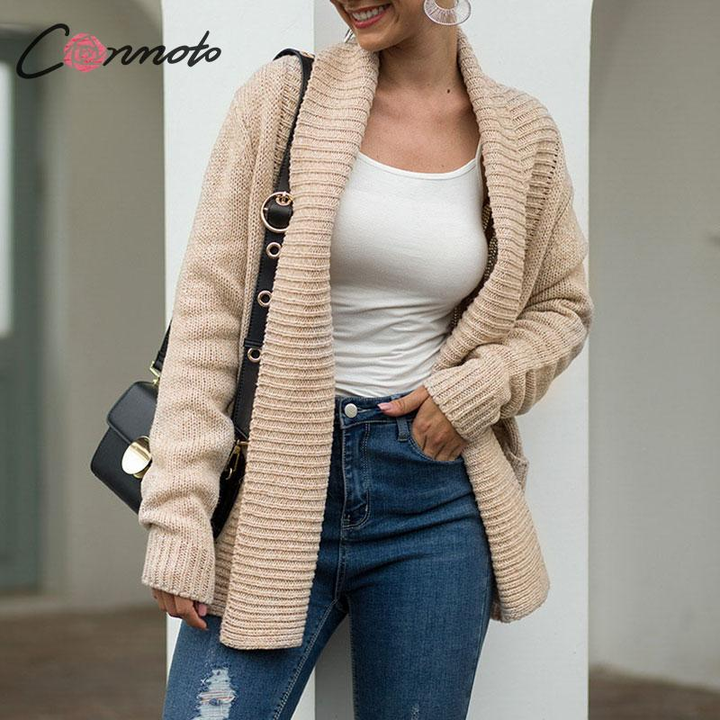 Conmoto Fall 2019 Women's Cardigan Casual High Street Pockets Knitted Jackets Female Autumn Winter Clothes Warm Coat Plus Size
