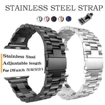 new stainless steel 7 points watch band for apple watch 38mm 42mm iwatch strap black silver rose gold butterfly clasp bracelet Stainless Steel Strap For Apple Watch Band 42mm/38mm Bracelet Strap Clip Adapter for Apple Watch Band 38mm For iWatch 5 4 3 2 1