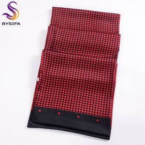 Image 3 - [BYSIFA] Black Red Long Scarves For Men Fashion Accessories Male Pure Silk Scarf Cravat Winter Flowers Pattern Scarf 160*26cm