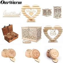 OurWarm Wood Wedding Decoration Chocolate Stand Ring Box Card Vintage Gifts Decor