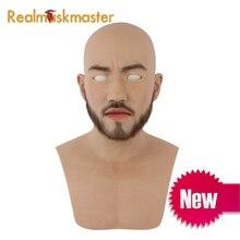 Realmaskmaster силиконовые маски для Хэллоуина для всего лица, бороды, маски предметы для вечеринок, мужские Фетиш маски для кожи человека