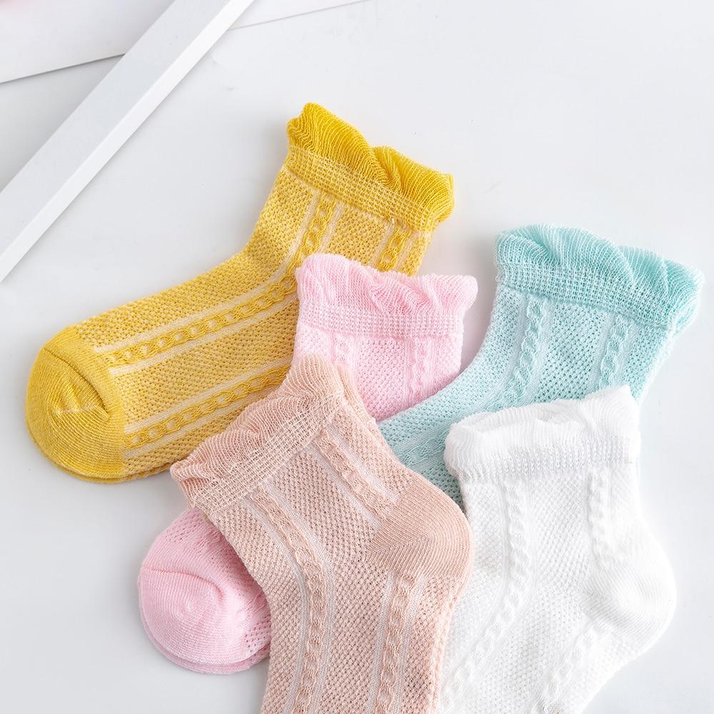 5Pairs/lot 2-9Y Baby Socks Summer Cotton Jacquard Thin Kids Socks Solid Colorful Girls Mesh Cute Newborn Boy Toddler Socks Baby 4