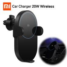 במלאי שיאו mi mi jia אלחוטי לרכב מטען תשלום מהיר 20W מקסימום חשמלי אוטומטי קמצוץ 2.5D זכוכית טבעת מואר עבור mi 9 10W Qi