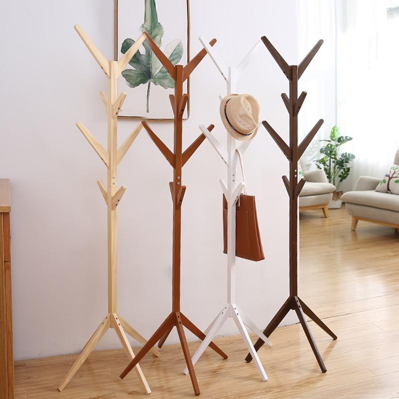 simple creativity tree shaped solid wood coat rack floor style living room bedroom clothes rack bag shelf clothes hanger