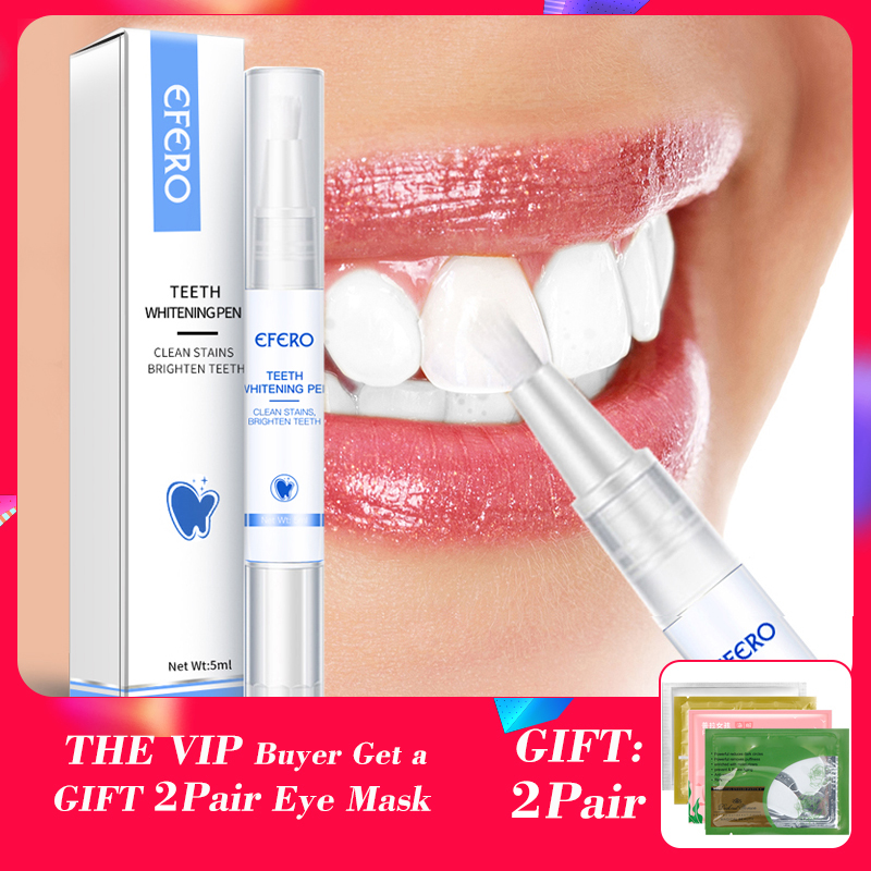 EFERO Dental White Teeth Whitening Pen Peroxide Gel Tooth Cleaning Bleaching Kit Professional Yellow Teeth Whitening Gel Pen Kit