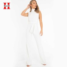 Fashion Women Jumpsuit Summer Casual High Waist Sleeveless Jumpsuit Office Ladies V-neck With Belt White Jumpsuits Female Pants