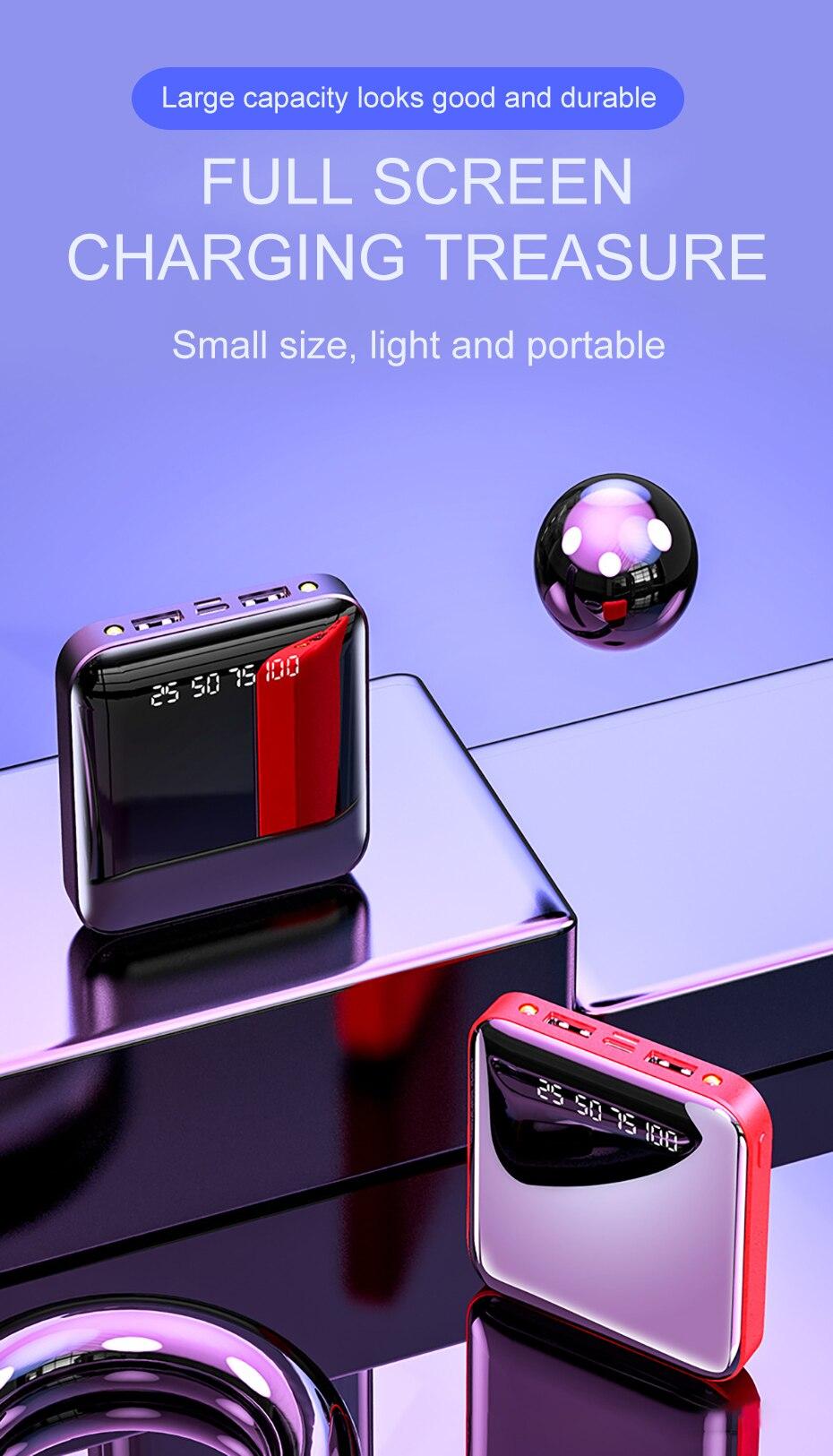 PINZHENG Mini Portable 10000mAh Power Bank For Xiaomi Mi With LED Digital Display 7