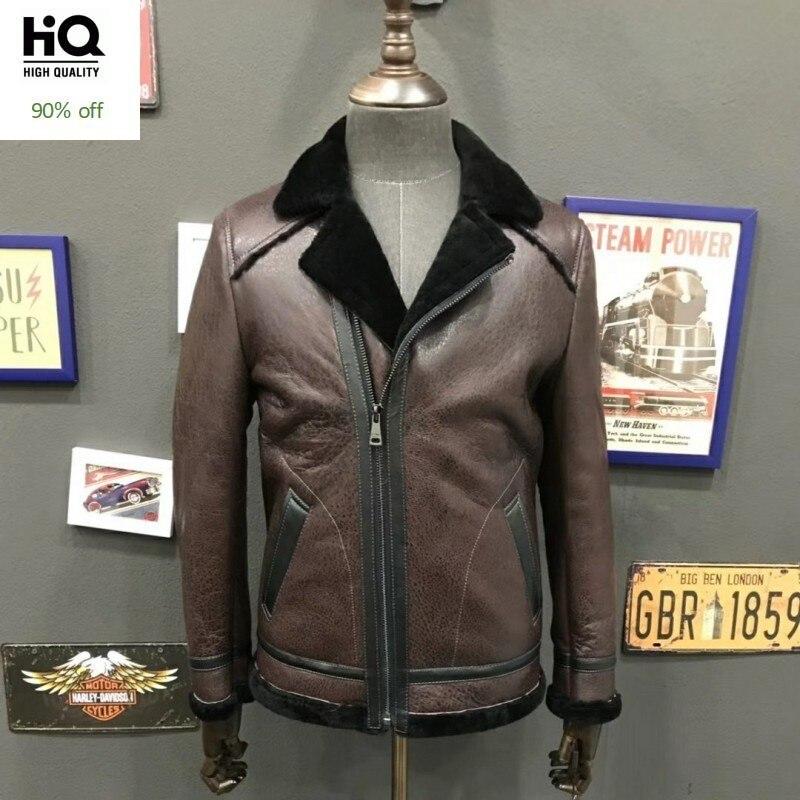 2020 Winter Shearling Coat Men Brand Business Zipper Genuine Leather Jacket Safari Style Vintage Slim Warm Coat Male Outerwear