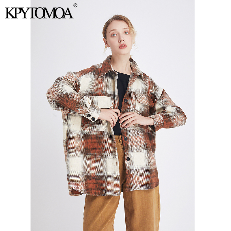 Vintage Stylish Pockets Oversized Plaid Jacket Coat Women 2020 Fashion Lapel Collar Long Sleeve Loose Female Outerwear Chic Tops