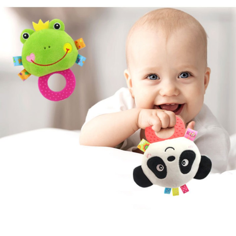 Newborn Rattles Toy Baby Teether Rattle Bell Doll Bell BB Silicone  Interactive Cute Cartoon Animal Plush Toys
