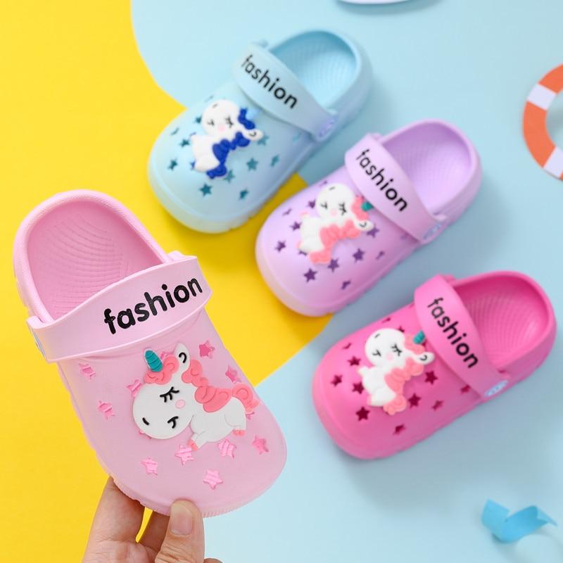 Kids Unicorn Slippers Summer Baby Girls Beach Flip Flops Casual Non-Slip House Shoes Boys Cartoon Rainbow Slipper Pantufa
