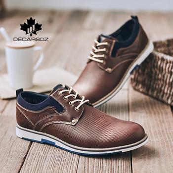 Obuwie męskie 2020 moda jesienne buty człowiek marka projekt mężczyźni skóra Casual męskie wypoczynek obuwie styl kowbojski obuwie męskie tanie i dobre opinie DECARSDZ Syntetyczny Przypadkowi buty Wiosna jesień DK-S-001 Lace-up Polka dot Dla dorosłych Oddychająca Pot-chłonnym