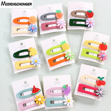 2PCS/Set Flower and Fruit Hairpin Barrettes For Girls Color Cartoon BB Clip Small Hairgrips Hair Headdress Accessories