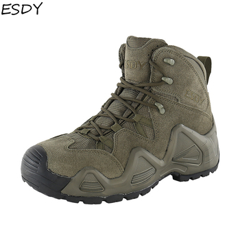 Esdy Men High Quality Brand Military Leather Boots Special Force Tactical Desert Combat Men Boots Outdoor Shoes Men Ankle Boots short boots men winter high top high quality genuine leather shoes mens dress boots cowhide desert boots men military boots