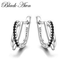 Klasik hakiki 925 ayar gümüş takı siyah Spinel taş sevimli damızlık küpe kadınlar için Bijoux Femme Boucles d'oreilles I023