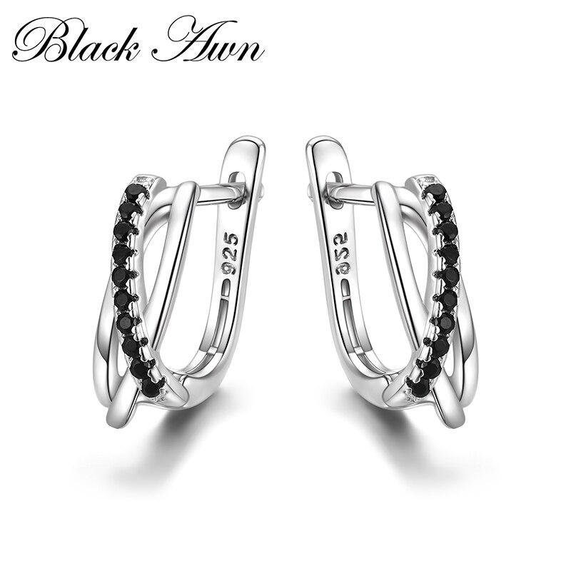 Takı ve Aksesuarları'ten Küpeler'de Klasik hakiki 925 ayar gümüş takı siyah Spinel taş sevimli damızlık küpe kadınlar için Bijoux Femme Boucles d'oreilles I023