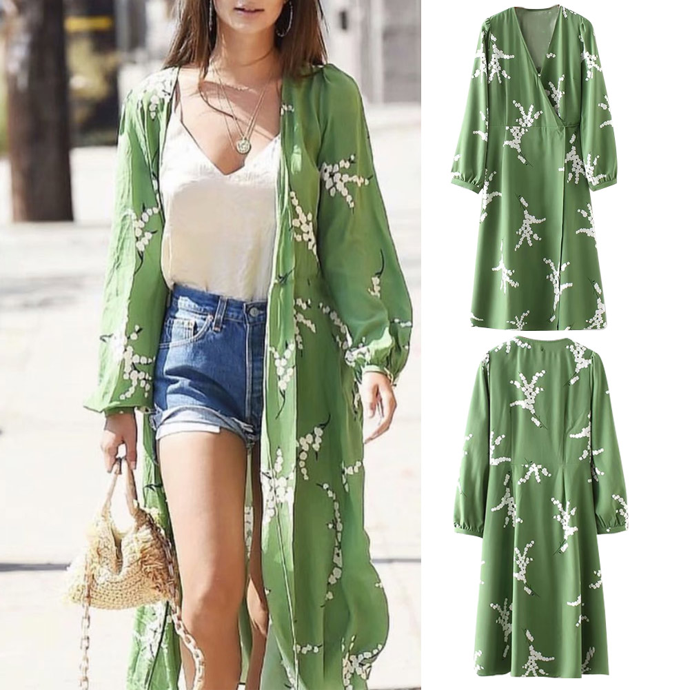 Summer Green Long Bell Sleeves Midi Dress Women Printed Long Dress Summer Beach NGD88