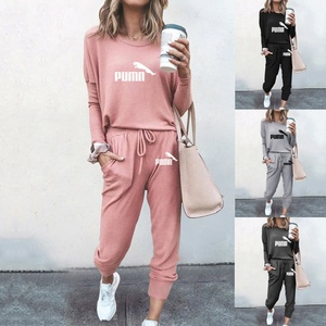 Women Solid Color Long Sleeve O Neck Blouse Top Drawstring Pants Sport Tracksuit Sports shirts autumn winter set Tracksuit New