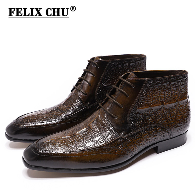 FELIX CHU Genuine Leather Mens Ankle Boots Alligator Print Lace Up High Top Dress Shoes Black Brown Casual Business Men Boots