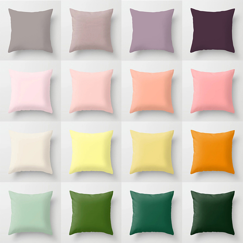 Double-sided Printing Polyester Solid Color Cushion Cover Pink White Black Green Decorative Pillow Case Sofa Chair Home Decor