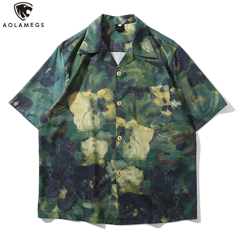 Aolamegs Men Shirt Graffiti Casual Fashion Cool Retro Baggy Oversize Comfortable Watercolor College Style Hit Color Streetwear