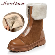 Купить с кэшбэком Meotina Winter Real Fur Snow Boots Women Natural Genuine Leather Flat Platform Ankle Boots Warm Plush Zipper Shoes Ladies 34-39