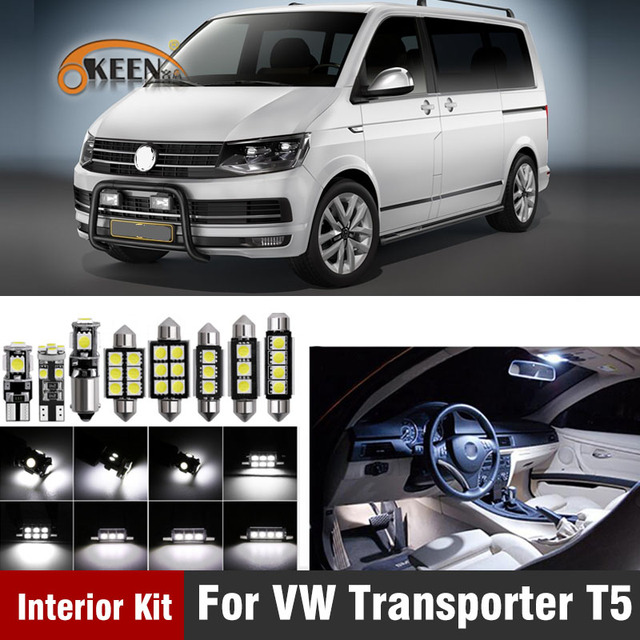 20Pcs Canbus Car Interior Light Kit Led Bulb For Volkswagen VW Transporter T5 for Multivan MK5 T5 Dome Map Lamp Car Accessories